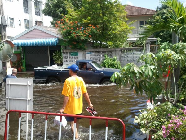 Truck in flooded street